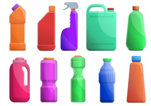 10款各种颜色和造型的洗衣液洗涤剂瓶子图片免抠素材