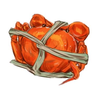 手绘风格的绑着的大闸蟹美味螃蟹图片免抠素材