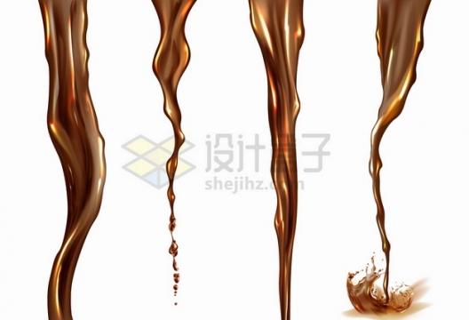 4款倾倒的棕色咖啡汽水液体水流效果png图片素材