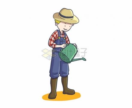 卡通农民拿着水壶浇水197324png图片素材