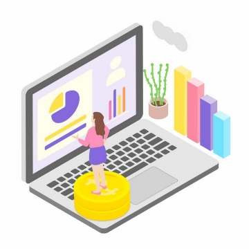 2.5D风格笔记本电脑上站着的女人正在分析数据图表商务信息图片免抠素材