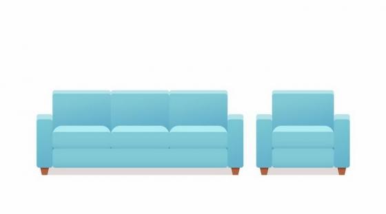 海蓝色的组合沙发和单人沙发客厅家具png图片免抠矢量素材