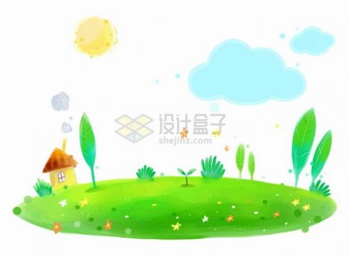 唯美风格绿色草地上的大树和小房子还有可爱的太阳云朵儿童插画png图片免抠eps矢量素材