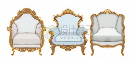 三款镶着金边的复古风格沙发椅png图片免抠矢量素材