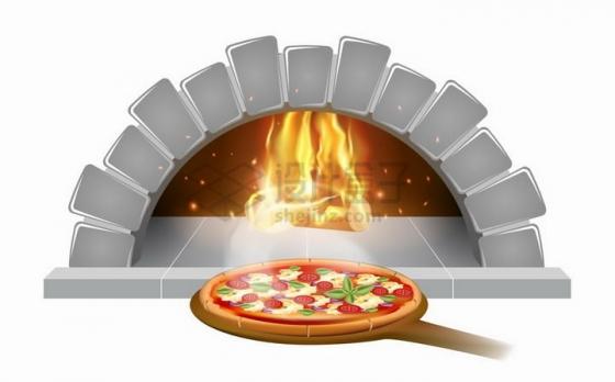 银色砖块砌成的拱形壁炉和披萨饼制作png图片免抠矢量素材