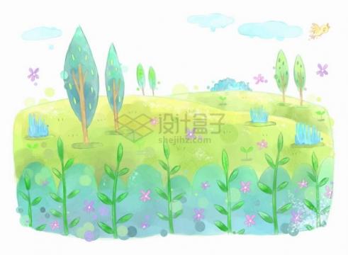 唯美风格绿色的草地和上面的树木花朵儿童插画png图片免抠eps矢量素材