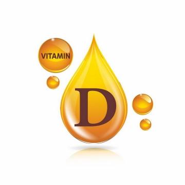 黄色油滴维生素D营养元素维他命保健品png图片免抠EPS矢量素材