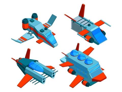 2.5D科幻风格的飞船运输船图片免抠矢量素材