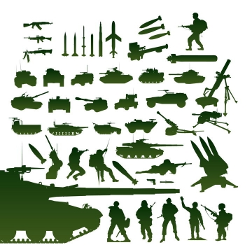 各种各样的步枪导弹坦克战车士兵剪影图片免抠素材