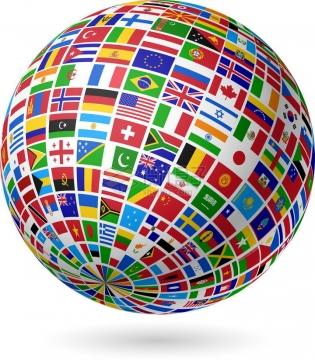世界各国国旗组成的圆球图案png图片免抠素材