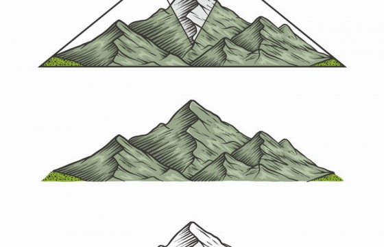 手绘线描风格大山山脉免抠矢量图素材