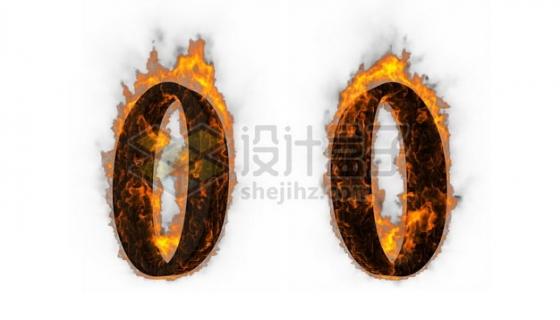 C4D风格燃烧着火焰的3D立体数字零0艺术字体515404psd/png图片素材