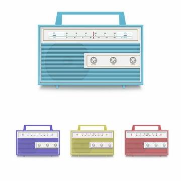 4种颜色蓝色紫色绿色和红色复古收音机png图片免抠矢量素材