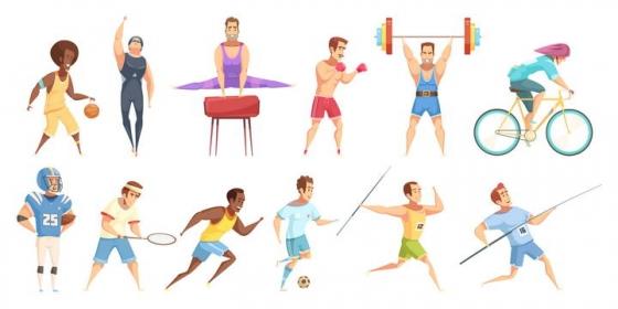 12款卡通漫画风格正在锻炼的健身体育人士免扣图片素材