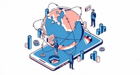 2.5D风格智能手机上的全球网络和各种应用场景png图片免抠矢量素材