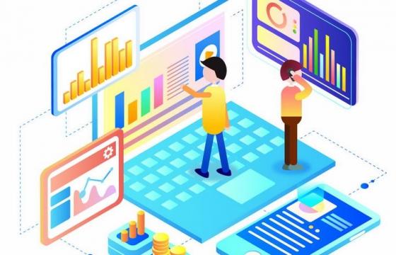 2.5D立体风格站在笔记本电脑上看数据图表的商务人士图片免抠素材