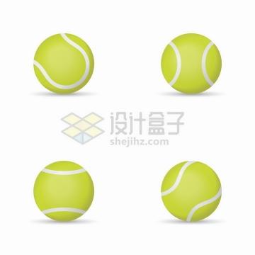 4个不同角度的网球体育运动png图片免抠矢量素材