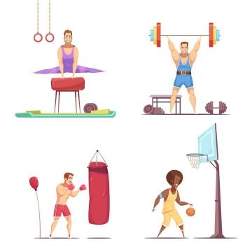 四款卡通漫画风格锻炼健身的人体操举重拳击和篮球免扣图片素材