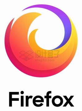 新版带文字版火狐浏览器logo标志png图片素材
