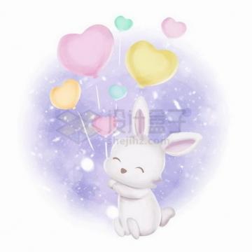 超可爱卡通小兔子拿着各种彩色心形气球png图片免抠矢量素材