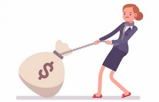 卡通美女用铁链拉着有美元符号的钱袋子png图片免抠矢量素材