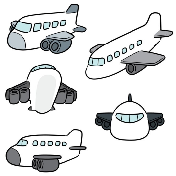 5款可爱卡通飞机图片免抠素材