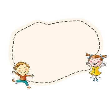 手绘卡通风格快乐的小孩儿童节边框文本框图片免抠素材