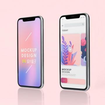 两款苹果iPhone 11 Pro Max手机显示画面psd样机图片模板素材
