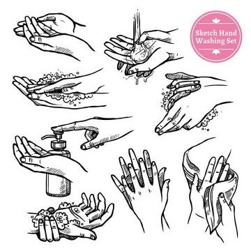 手绘插画风格如何正确的使用洗手液个人卫生图片免扣素材