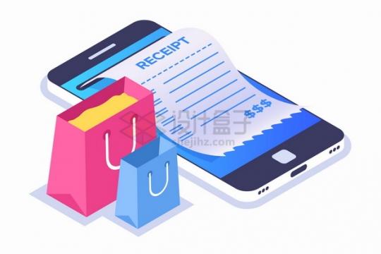 2.5D风格购物袋和手机上打印出来的小票发票网上购物手机购物png图片素材