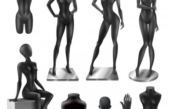 各种各样的黑色塑料女性人体模特模型免扣图片素材