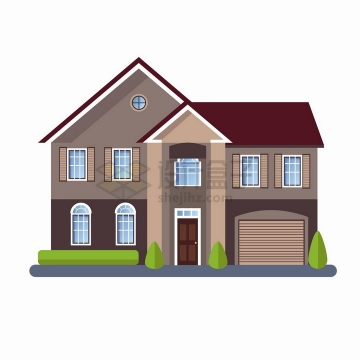 房间较多的斜屋顶二层小别墅扁平化房子png图片免抠矢量素材