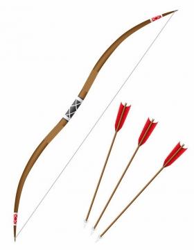 长弓弓箭冷兵器武器png图片免抠矢量素材