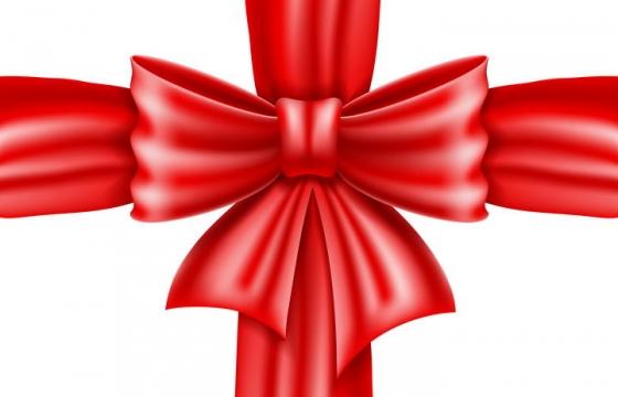 高光的红色蝴蝶结十字装饰图案免抠矢量图片素材