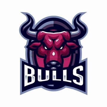 目光敏锐的红色公牛logo设计png图片免抠矢量素材