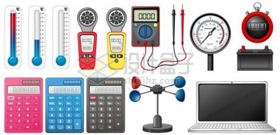 水银温度计万能表体重计秒表计算器笔记本电脑等工具png图片免抠矢量素材