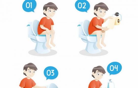 卡通男孩使用抽水马桶流程说明图png图片免抠矢量素材