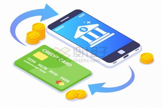 2.5D风格银行卡和手机网上支付手机支付功能png图片素材