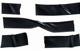 各种黑色胶带胶布效果png图片免抠矢量素材
