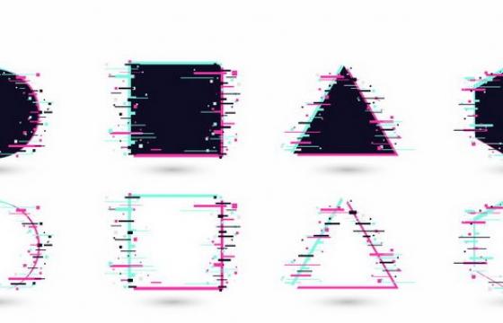 故障风的圆形正方形三角形六边形边框背景png图片免抠eps矢量素材