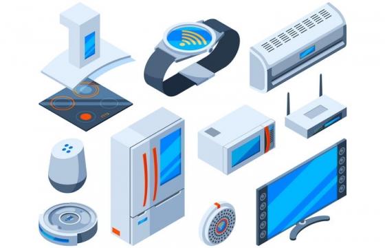2.5D风格卡通风格电磁炉手表空调冰箱微波炉电视机路由器等家用电器图片免抠矢量素材