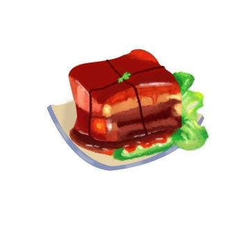 手绘风格美味家常美食传统菜肴红烧肉东坡肉图片免抠素材