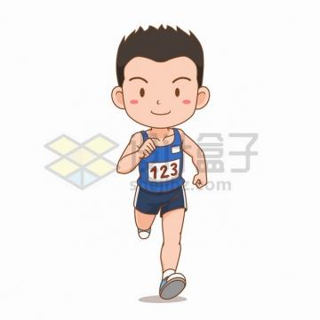 参加跑步比赛赛跑的卡通男孩插画png图片素材
