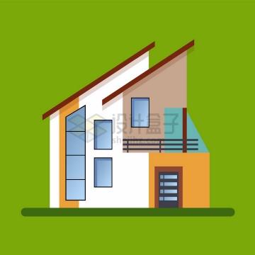 比较有设计感的斜屋顶别墅扁平化房子png图片免抠矢量素材