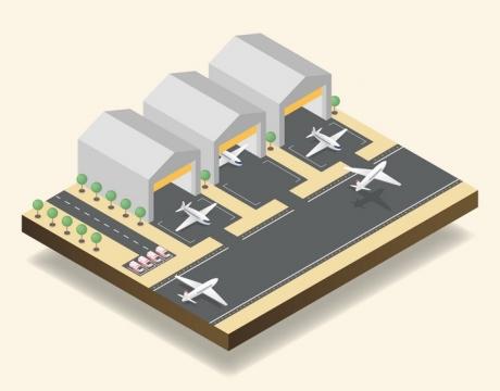 2.5D风格方块形状的机场图片免抠素材