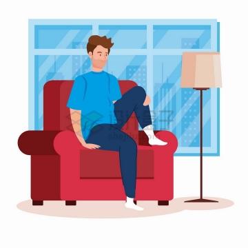 翘着一条腿坐在沙发上的年轻人扁平插画png图片素材