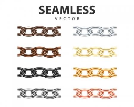 8种颜色的金属链环链条免抠矢量图素材