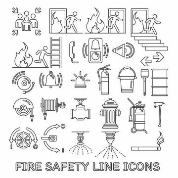 黑色线条消防安全知识宣传图案png图片免抠矢量素材