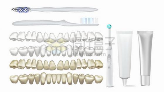 普通牙刷电动牙刷和各种形状的牙齿png图片免抠矢量素材