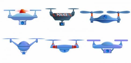 6款警用无人机四轴飞行器png图片免抠矢量素材